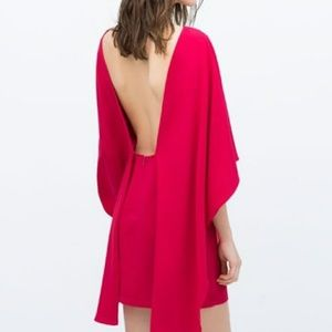 Zara Red Open Back Cape Dress Medium NWOT 🔥